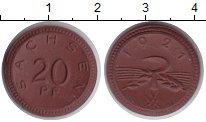 Изображение Монеты Саксония 20 пфеннигов 1921 Керамика XF Нотгельд.