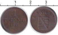 Изображение Монеты Саксония 1 пфенниг 1841 Медь XF