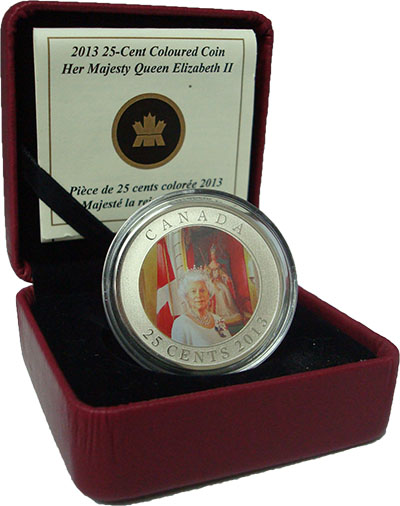 Изображение Подарочные монеты Канада Коронация Елизаветы II 2013 Медно-никель Proof Канадская 25-центова