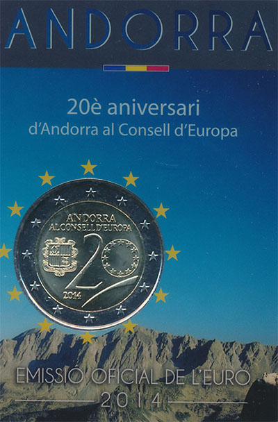 Изображение Подарочные монеты Андорра 20 лет Вступление в ЕС 2016 Биметалл UNC 2-евровая монеты пос