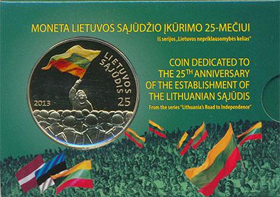 Изображение Подарочные монеты Литва Саюдис 2013 Латунь UNC `Монета номиналом 25