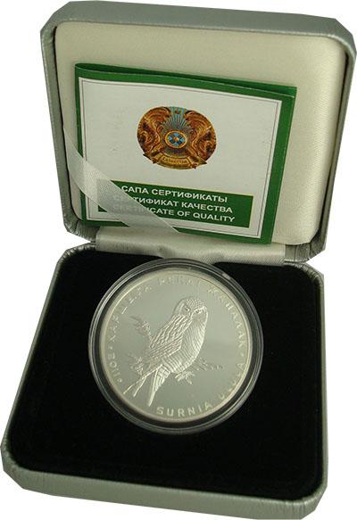 Изображение Подарочные монеты Казахстан Ястребина сова 2011 Серебро Proof `Монета номиналом 50