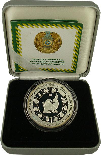 Изображение Подарочные монеты Казахстан 500 тенге 2011 Серебро Proof Монета открывает сер
