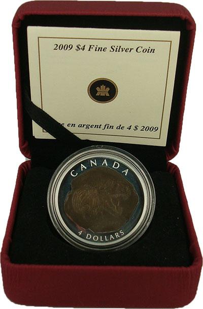 Изображение Подарочные монеты Канада Динозавр 2009 Серебро Proof `Монета номиналом 4
