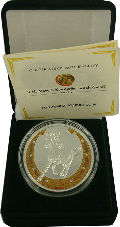 Изображение Подарочные монеты Ниуэ Год лошади 2014 Серебро Proof Монета номиналом 1 д