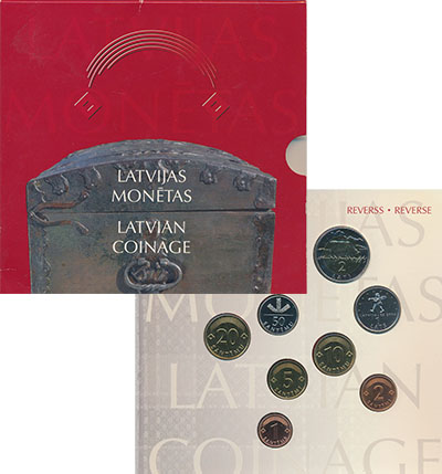 Изображение Подарочные монеты Латвия Набор 1992-2004гг, 0  UNC