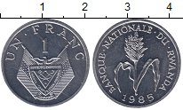 Изображение Монеты Руанда 1 франк 1985 Алюминий UNC-