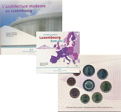 Изображение Подарочные монеты Люксембург Набор 2011 года 2011  BUNC Официальный набор Це