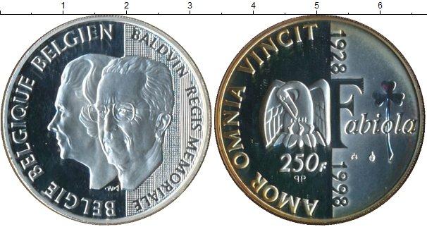 Картинка Подарочные монеты Бельгия 70 лет Королеве Фабиоле Серебро 1998