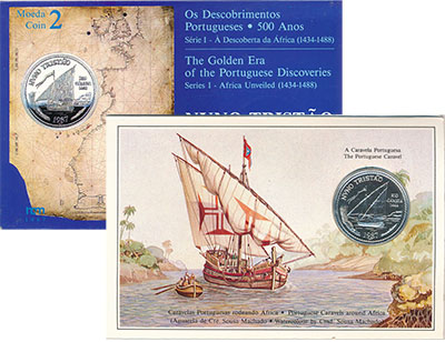 Изображение Подарочные монеты Португалия 100 эскудо 1987 Серебро UNC Монета номиналом 100