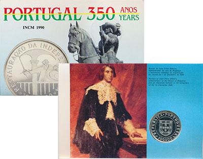 Изображение Подарочные монеты Португалия 350 лет Независимости 1990 Серебро UNC Монета номиналом 100