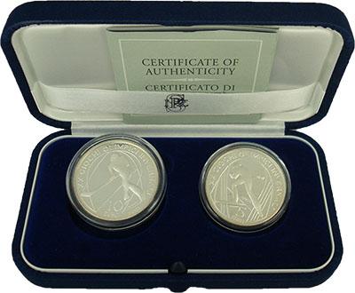 Изображение Подарочные монеты Италия Олимпиада в Турине 2005 Серебро Proof Набор из двух монет