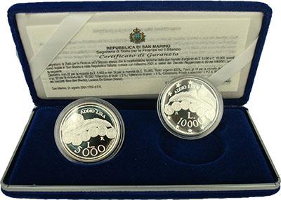Изображение Подарочные монеты Сан-Марино Прощание с лирой 2001 Серебро Proof Набор из двух монет