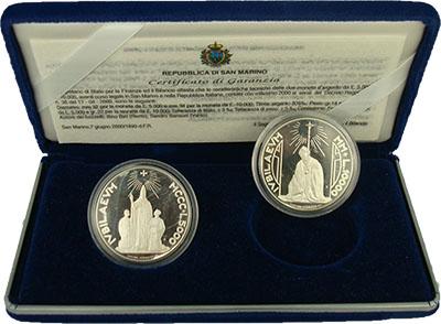 Изображение Подарочные монеты Сан-Марино Прощание с лирой 2000 Серебро Proof Набор из двух монет