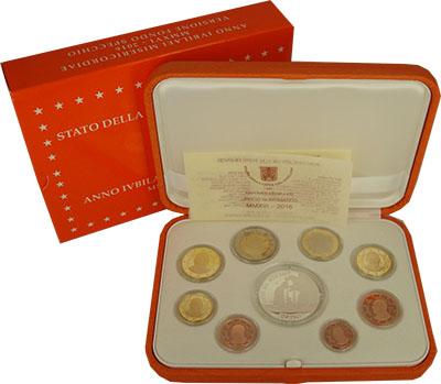 Изображение Подарочные монеты Ватикан Евронабор PROOF 2016 года 2016  Proof В набор входят восем