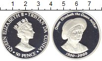 Изображение Монеты Тристан-да-Кунья 50 пенсов 2000 Серебро Proof Елизавета II. 100 -