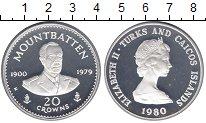 Изображение Монеты Теркc и Кайкос 20 крон 1980 Серебро Proof