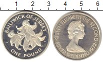 Изображение Монеты Остров Джерси 1 фунт 1972 Серебро Proof