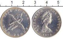 Изображение Монеты Остров Мэн 2 пенса 1976 Серебро UNC птица над картой
