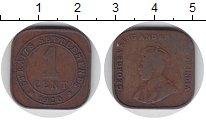 Изображение Монеты Стрейтс-Сеттльмент 1 цент 1920 Бронза VF-