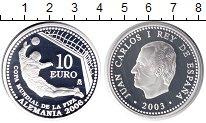 Изображение Монеты Испания 10 евро 2003 Серебро Proof- ЧМ по футболу в Герм