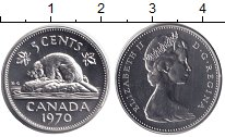 Изображение Монеты Канада 5 центов 1970 Медно-никель UNC Елизавета II. Бобр.
