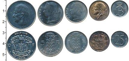 Изображение Наборы монет Бельгия 25 сентим - 10 франков 1973 Медно-никель XF В наборе 5 монет ном