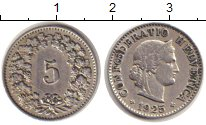 Изображение Монеты Швейцария 5 рапп 1925 Медно-никель XF