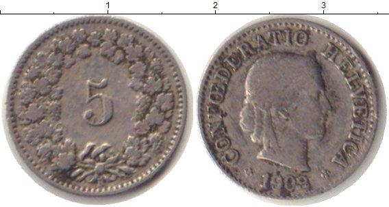 Картинка Монеты Швейцария 5 рапп Медно-никель 1903