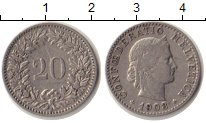 Изображение Монеты Швейцария 20 рапп 1903 Медно-никель XF