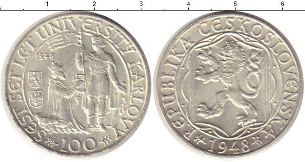 Картинка Монеты Чехословакия 100 крон Серебро 1948