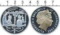 Изображение Монеты Гернси 5 фунтов 2002 Серебро Proof Елизавета II. Позоло