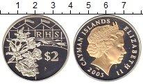 Изображение Монеты Каймановы острова 2 доллара 2003 Серебро Proof Елизавета II. Позоло