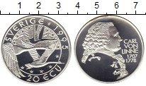 Изображение Монеты Швеция 20 экю 1995 Серебро Proof Карл Линней.