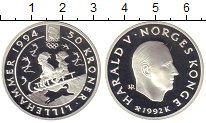 Изображение Монеты Норвегия 50 крон 1992 Серебро Proof Зимняя Олимпиада. Ли