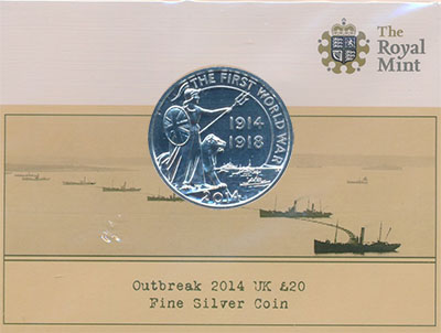 Изображение Подарочные наборы Великобритания Первая мировая война 2014 Серебро BUNC 20-фунтовая монета (