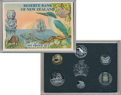 Изображение Подарочные монеты Новая Зеландия Набор 1993 года 1993  Proof Набор из пяти монет