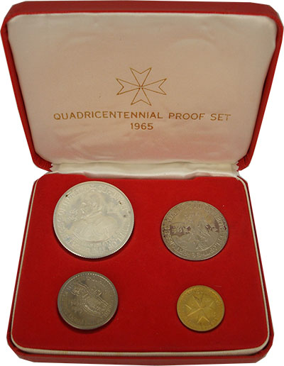 Изображение Подарочные монеты Мальтийский орден Великая осада Мальты 1965  Proof- Набор из четырех мон