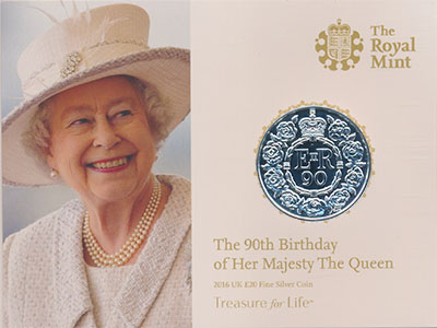 Изображение Подарочные монеты Великобритания 90 лет Елизавете II 2016 Серебро BUNC .