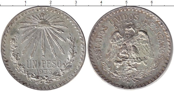 Картинка Монеты Мексика 1 песо Серебро 1933