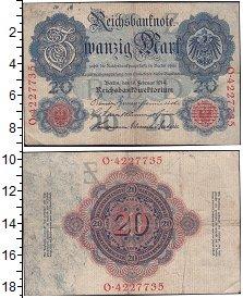 Изображение Банкноты Германия 20 марок 1914  XF Выпуск 18 сентября 1