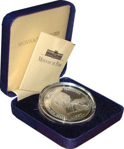 """Изображение Подарочные монеты Франция Исследования Антарктики 1992 Серебро Proof """"Набор посвящен фран"""