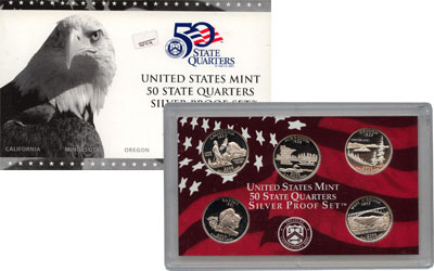 Изображение Подарочные монеты США Памятные четвертаки 2005 Серебро Proof Представляем вам наб