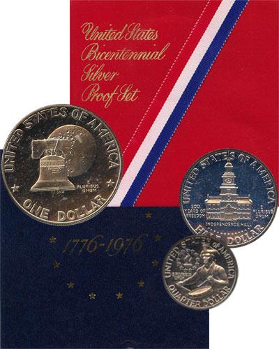 Изображение Подарочные монеты США 200-летие независимости 1976 Серебро Proof- Набор посвящен 200-л