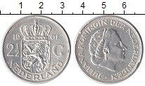 Изображение Монеты Нидерланды 2 1/2 гульдена 1961 Серебро XF