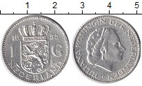 Изображение Монеты Нидерланды 1 гульден 1955 Серебро XF