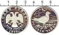 Изображение Монеты Россия 1 рубль 1999 Серебро Proof- Розовая чайка