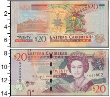 Изображение Боны Карибы 20 долларов 0  XF Королева Елизавета I