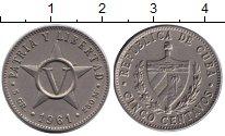 Изображение Дешевые монеты Куба 5 сентаво 1961 Алюминий F