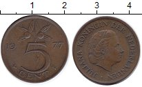 Изображение Дешевые монеты Нидерланды 5 центов 1977 Медно-никель XF